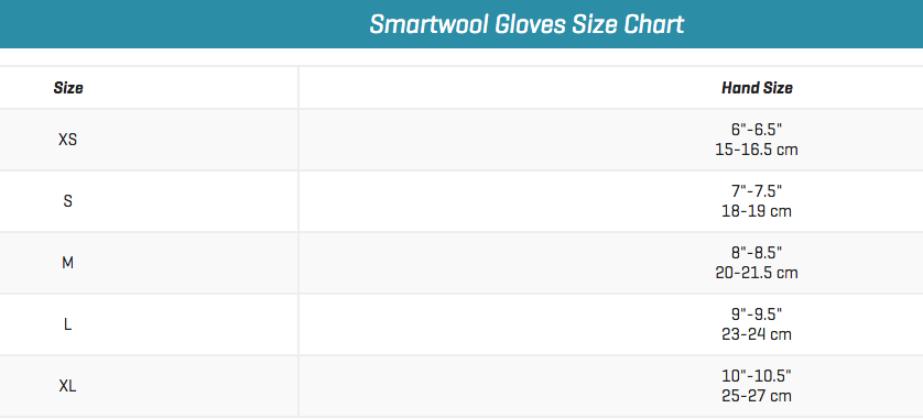 Smartwool Gloves Size Chart Image Of