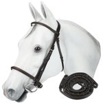 Bobbys Tack Plain Raised Snaffle Bridle with Reins
