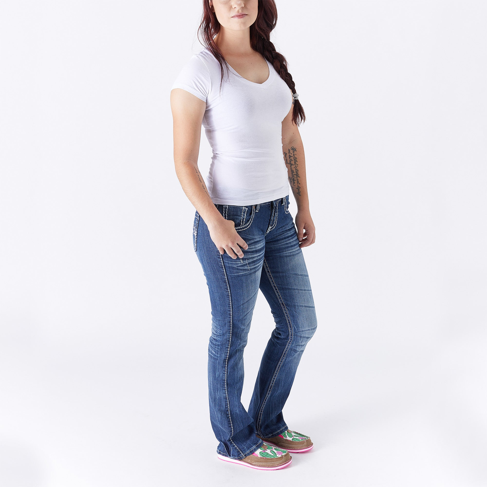 Cowgirl Tuff Edgy Jeans W Barbed Wire Pocket Embroidery Riding Warehouse
