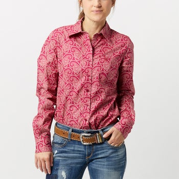 a2be50f48 Cinch Women's Paisley Burgundy Button Western Shirt - Riding Warehouse