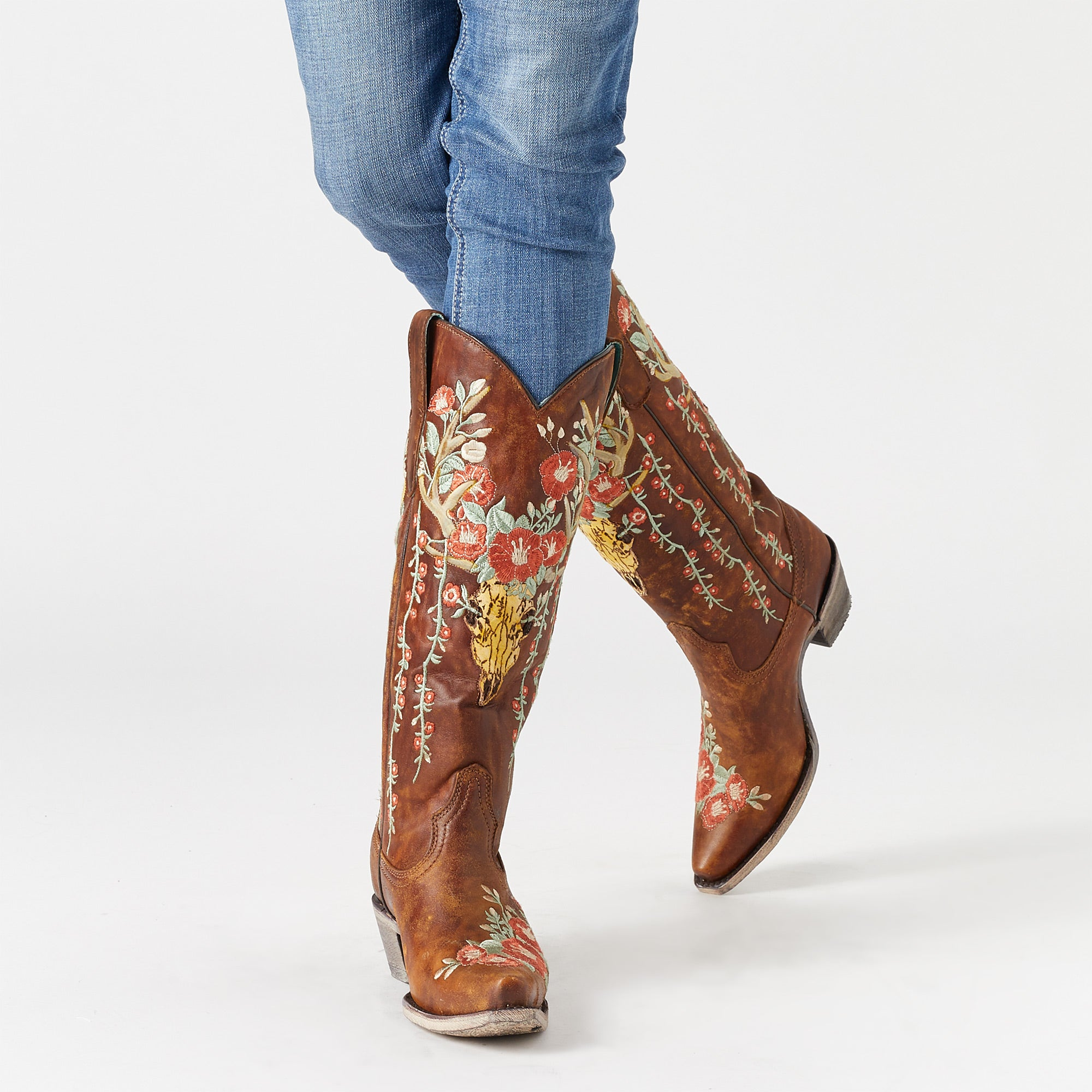 ed09750cb93 Corral Ladies' Juliet Deer Skull/Floral Cowboy Boots - Riding Warehouse