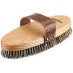 Haas Boar Bristle Western Leather Stamped Body Brush