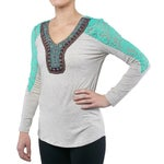 Petrol Womens The West Long Sleeve Top with Lace