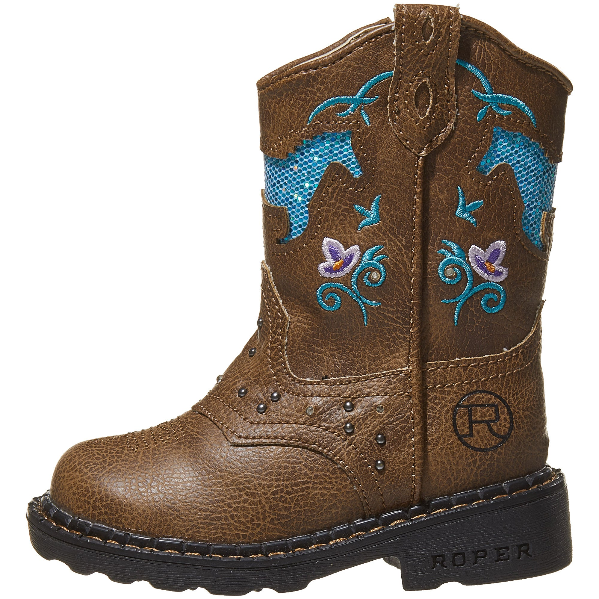 aeb1ff63f3b Roper Girl's Kids Horse Flowers Light Up Cowboy Boots - Riding Warehouse